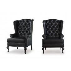 Каминное кресло с ушами Kolej900black тон АМ152